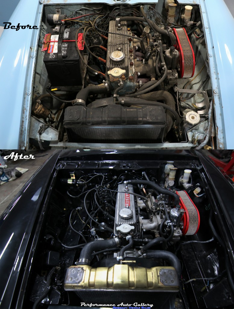 Before and After Datsun Engine Bay1